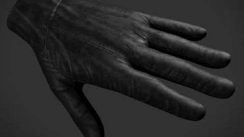 Leather Glove with High and Low Poly Files