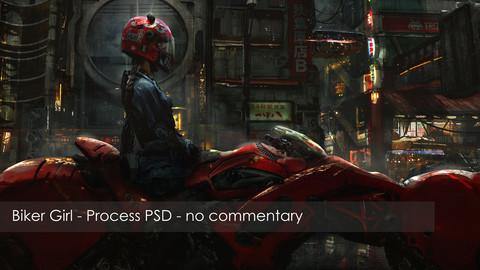 Cyberpunk Biker Girl - Process PSD