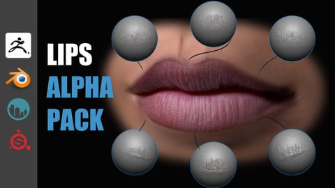 Lips Detail Alpha Pack (zbrush, blender, 3dcoat, substance)