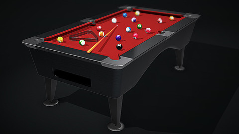 Pool Table ( Balls, Cue and Rack )