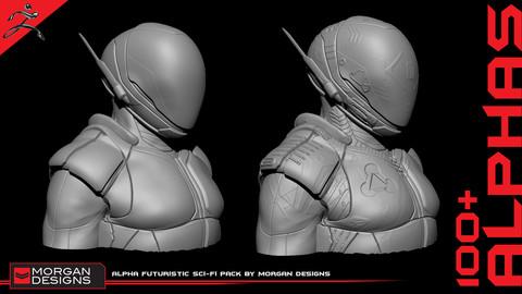 Alpha Futuristic Sci-Fi pack by Morgan Designs | 100+ Alphas
