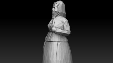 Old Woman wooden sculpture 120mm
