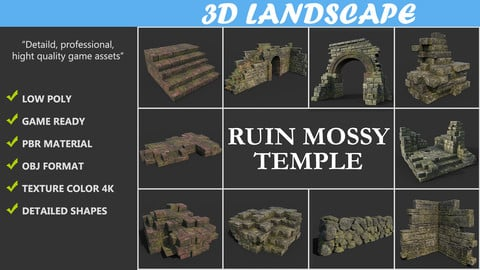 Low poly Mossy Ruin Temple Package