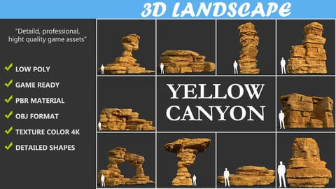 Low poly Yellow Canyon Desert Pack