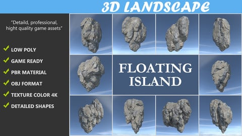 Low poly Floating Island Rock Pack