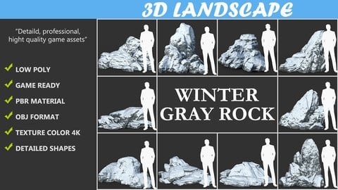 Low poly Snow Winter Rock Pack