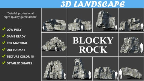 Low poly Blocky Rock Mossy Pack