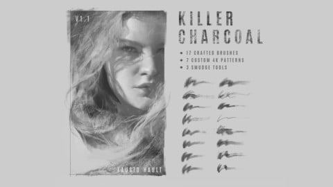 Killer Charcoal. Charcoal imitation brushes for Photoshop CS5+