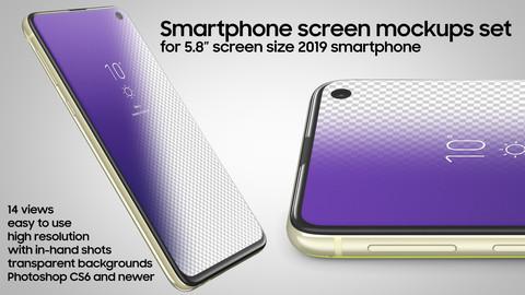 "Screen mockups set 5.8"" Korean smartphone (early 2019)"