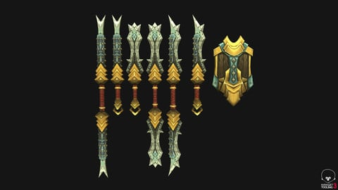 Handpainted Stylized Swords and Shield