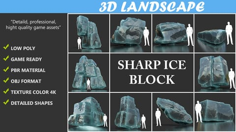 Low poly Ice Block Pack 3D Model Collection