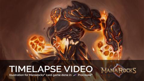 LAVA GOLEM - Procreate Illustration for Manarocks® card game