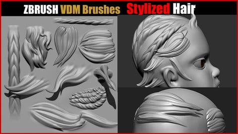 Zbrush VDM Stylized Hair Brushes