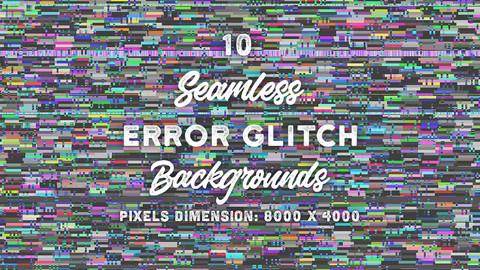 10 Seamless Error Glitch Backgrounds