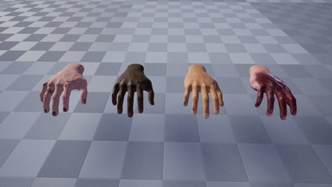 Male Hand - UE4 - Animated with no Root Motion - Designed for VR. + Hand shader for Blood/Tattoos/Nail/Skin tone and More.