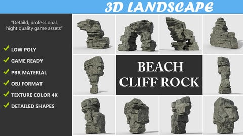 Low poly Beach Cliff Rock Pack 190316