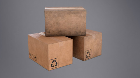 Cardboard Box - PBR Game Ready