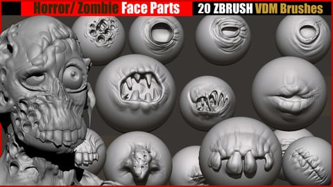 Horror _ Zombie  Face Parts VDM Brushes