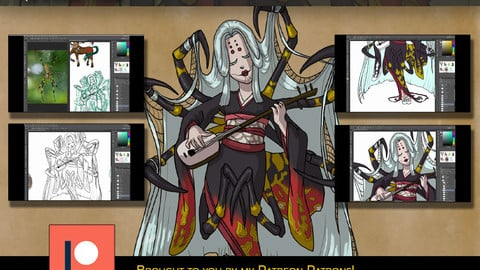 Painting a Jorogumo in Cell-shaded Style - Digital Art Tutorial