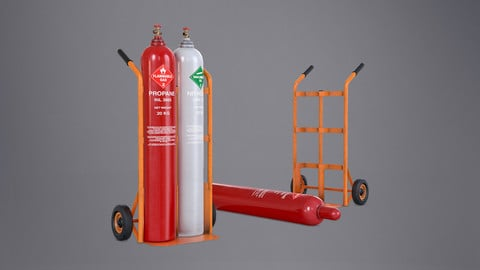 Gas Cylinder with Trolley - PBR Game Ready