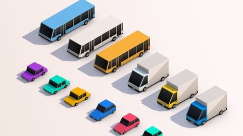 3D Low Poly City Cars