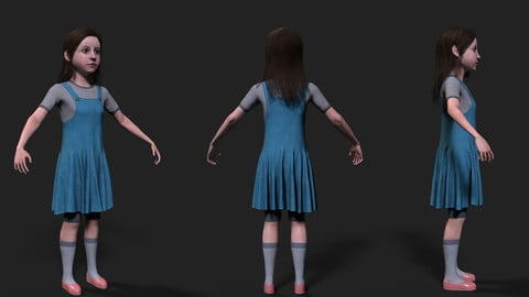 Girl Real Time Mesh 3D Model with 4k textures