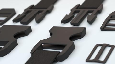 3D Set of fastener plastic buckle or fastex buckles model