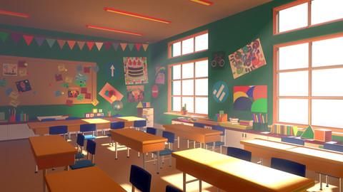 Asset - Cartoons - Background - Classroom - 02 3D model