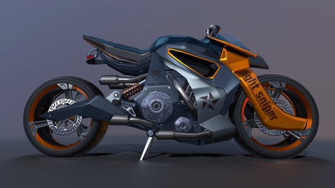 Sci-fi moto, low poly models, substance painter project, textures, PBR, UE4, Unity5