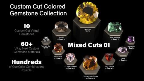 Mixed Cuts 01 — Custom Cut Colored Gemstones + Custom V-Ray Materials