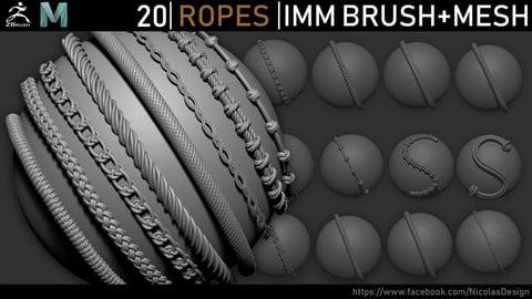 Zbrush - Ropes IMM Brush + Meshes