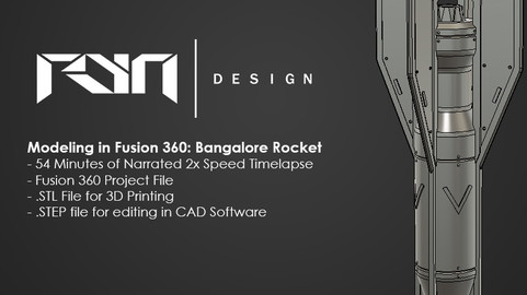 Modeling in Fusion 360: Bangalore Missile Tutorial / 3D Printable / Timelapse