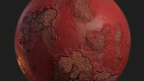 Painted metal, rusted metal.