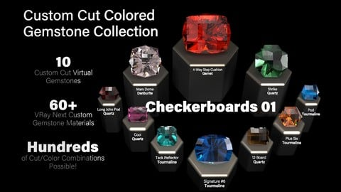 Checkerboards 01 — Custom Cut Colored Gemstones + Custom V-Ray Materials