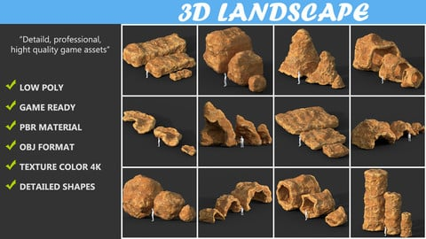 Low poly Cave Modular Yellow Rock Casual Pack