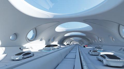Futuristic Tunnel With Cars 325