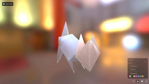 paper Origami CAT / Realistic 3d Model  / Low-poly 3D model