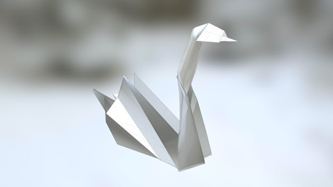 SWAN Realistic paper Origami / 3d Model of / Low-poly 3D model