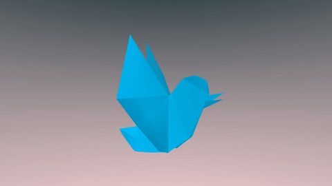 Origami TWITTER BIRD /  low-poly 3D model