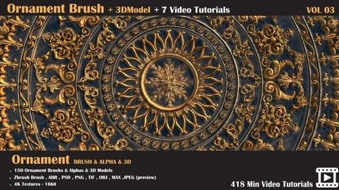 150 Ornament Brush and 3D Models + 7 Video Tutorials-VOL 03