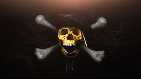 Artstation Pirates Of The Caribbean Gold Skull Wallpaper