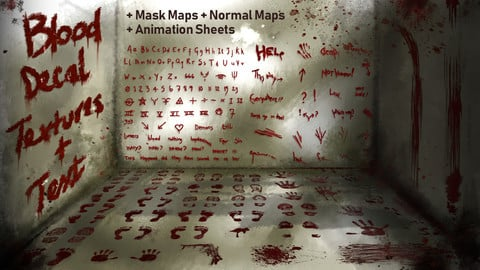 Blood Decals - Textures and Blood Text + Unity SRP,URP and HDRP versions