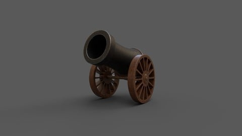 Stylized Cannon Low-poly 3D model Low-poly 3D model