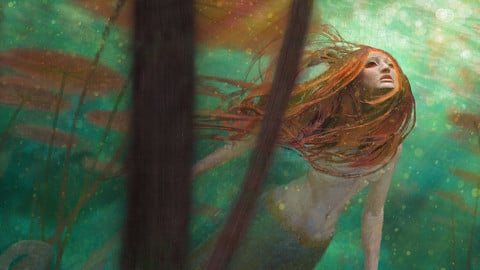 Hearing the Call - Mermaid in Seascape
