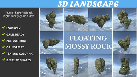 Low poly Floating Island Mossy Rock Pack 190503