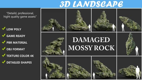 Low poly Damaged Mossy Rock Pack A-190430