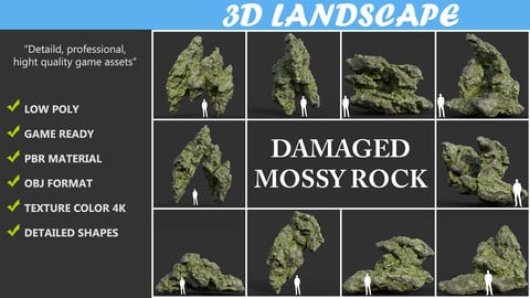 Low poly Damaged Mossy Rock Pack B-190430