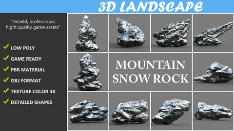 Low poly Mountain Snow Rock Pack B-190426