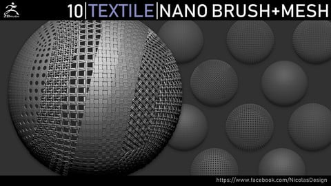Zbrush - Textile Nano Brush + Meshes