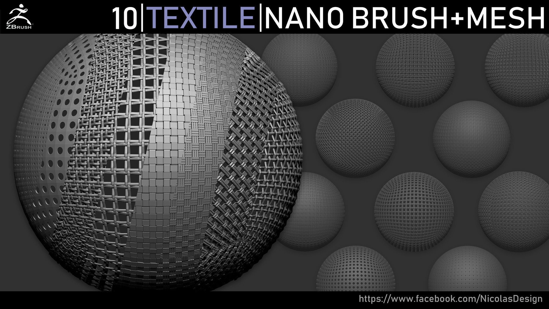 Zbrush - Textile Nano Brush + Meshes by Nicolas Swijngedau